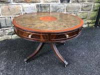 Quality Mahogany & Leather Drum Coffee Table