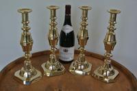 "Rare Set of 4 Large Victorian Brass Candlesticks Through Pushers 12.5"" c.1890 (2 of 7)"