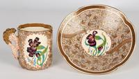 Zsolnay Pecs Hungarian Hand Painted Floral Cabinet Cup & Saucer c.1890 (9 of 16)