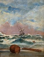 Large Spectacular 19th Century British Seascape Oil Painting - Shipwreck in Rough Seas! (4 of 13)