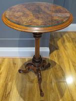 Victorian Inlaid Wine Table in Burr Walnut & Solid Walnut (3 of 5)