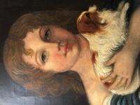 Victorian 19th Century Oil Painting Portrait Young Girl & Cavalier King Charles Spaniel (24 of 34)
