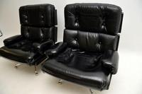 Pair of Vintage Leather / Chrome Armchairs & Ottoman by Howard Keith (7 of 16)