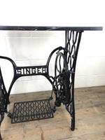 Antique Singer Sewing Machine Table with Marble Top (5 of 8)