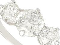 2ct Diamond & Platinum Three Stone Ring - Vintage c.1940 (3 of 9)