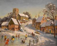 """Oil Painting by Max Hofler """"The Frozen Pond"""" (2 of 6)"""