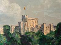 "Fine 20th Century Oil Painting Royal Windsor Castle ""View From The Thames"" (4 of 12)"