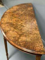 19th Century Burr Walnut Demi lune Console Table (5 of 6)