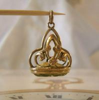 Antique Pocket Watch Chain Fob 1910 Art Nouveau Big Rose Gilt & Green Stone Fob (9 of 9)