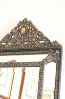 Dutch Repousse Brass Cushion Framed Mirror with Arched Crest (3 of 12)