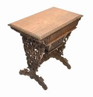 Antique Burmese Work Box - Desk Writing Table 1890 Hardwood (7 of 13)