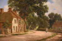 "Oil painting Pair by Alfred Kedington Morgan ""Village High Street"" (5 of 8)"