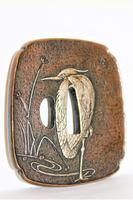 Fine & Heavy Signed Bronze Tsuba Overlaid with a Silver Heron (3 of 7)