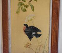 Pair of Oil Paintings of Finches in Blossom (5 of 12)