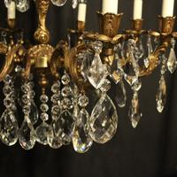 Italian Gilded Brass 8 Light Antique Chandelier (4 of 9)