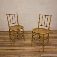 A Pair Of Late 19th Century Painted Faux Bamboo Side Chairs (10 of 11)