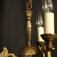French Gilded Brass Empire 3 Light Chandelier (8 of 10)