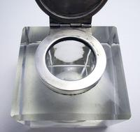 Elegant Large CUBE Antique Edwardian Solid Sterling Silver & Cut Glass English Inkwell Ink Pot Box, Plain 1902 (6 of 8)