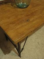 Industrial Vintage Folding Trestle Dining Table with Metal Legs & Reclaimed Top (3 of 17)