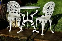 Nicely Weathered Painted Metal Bistro Set Table & 2 Chairs (2 of 5)