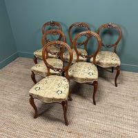 Elegant Set of 6 Victorian Walnut Antique Dining Chairs (8 of 9)