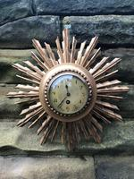 Antique Gilt Wood Sunburst Wall Clock