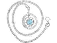 0.79ct Aquamarine, 0.31ct Diamond & 9ct Yellow Gold Necklace - Antique c.1910 (3 of 9)