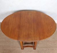 Oak Gateleg Dining Table Carved Solid Folding Kitchen Table (11 of 15)