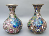 Pretty Pair of Chinese Cloisonne Champleve Vases (2 of 9)