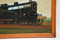 Antique Victorian Oil Painting Steam Locomotive Train (5 of 11)