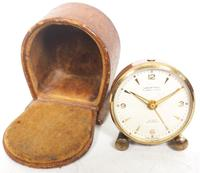 Antique Travelling Mantel Clock with Original Leather Outer Case 8-Day Mantel Clock by Looping with 7 Jewels (9 of 9)