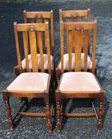1930s Set 4 0ak Highback Dining Chairs with Pop Out Seats (2 of 4)