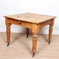19th Century Pine Dining Table Fitted Drawer (8 of 11)