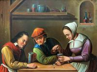 Early 19th Century Dutch School Drinking in a Tavern Oil on Panel Portrait Painting (8 of 11)