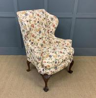 Upholstered Walnut Wing Armchair (5 of 9)