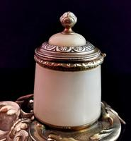 Antique French Bronze & Alabaster Inkwell (5 of 12)