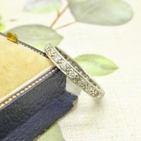 1920s Art Deco platinum diamond wedding band ~ full eternity ring 0.69ct ~ Size P 1/2 / 7.75 (4 of 9)
