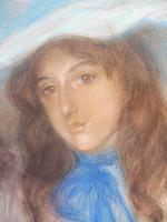 Large Pastel Portrait Two Girls Monogrammed TC 1910 (9 of 10)