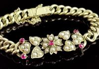 Antique 15ct Gold Ruby and Pearl Curb Bracelet, Floral (6 of 10)