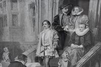 Large 19th Century Engraving. Busy Interior Courtyard Scene (5 of 7)