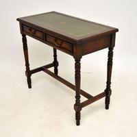 Antique Leather Top Oak Writing Table / Desk (3 of 10)