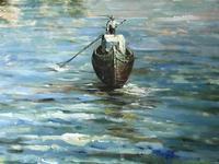 Large Italian Art Impressionism Oil Marine Painting Ships Docked Island Giudecca Venice Waterfront (8 of 12)