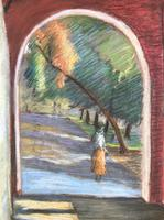 Original pastel 'Through an archway' by Dennis Gilbert NEAC.b.1922 c.1980 (2 of 2)