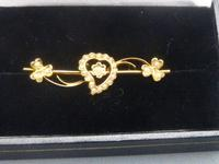 Edwardian 15ct Gold & Pearl Heart Brooch (5 of 5)