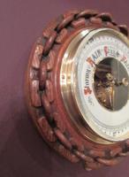 Antique Polished Oak Ship's Barometer (2 of 6)