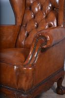 Large Antique Deep Buttoned Leather Wing Chair (4 of 5)