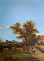 Original Victorian Harvest Countryside Landscape Oil Painting (4 of 10)