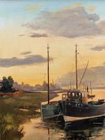 'the Estuary At Sundown' A Large Superb Original Vintage Seascape Oil Painting (7 of 12)
