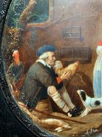 After: Gabriel Metsu (1629-1667) 'The Game Seller' 19thc Miniature Oil Painting (8 of 12)