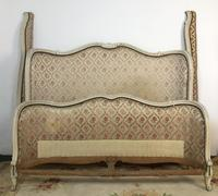 Antique French Full Corbeille King Size Bed Frame Curved Headboard & Footboard (6 of 13)